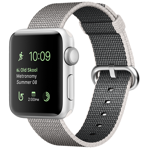 Apple Watch 2 38mm Silver Aluminum Case - Pearl Woven Nylon (MNNX2)