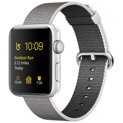 Apple Watch 2 42mm Silver Aluminum Case - Pearl Woven Nylon (MNPK2)