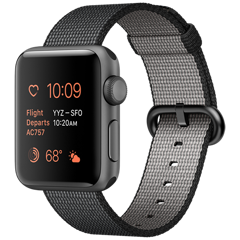 Apple Watch 2 38mm Space Gray Aluminum Case - Black Woven Nylon (MP052)