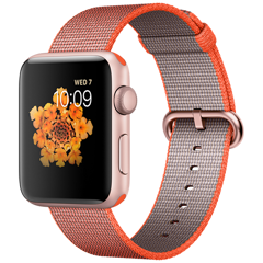 Apple Watch 2 42mm Rose Gold Aluminum Case - Orange Woven Nylon (MNPM2)
