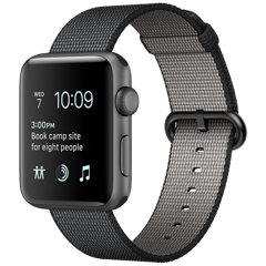 Apple Watch 2 42mm Space Gray Aluminum Case - Black Woven Nylon (MP072)