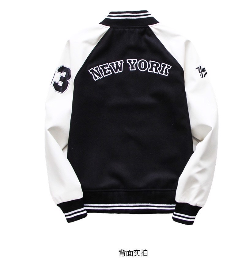 P100227 ÁO KHOÁC BASEBALL JACKET MLBNY CHINA - BLACK AND WHITE