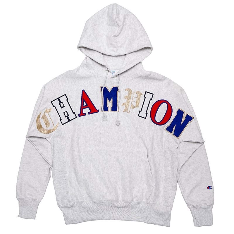 ÁO HOODIE CHAMPION REVERSE WEAVE OLD ENGLISH - GREY