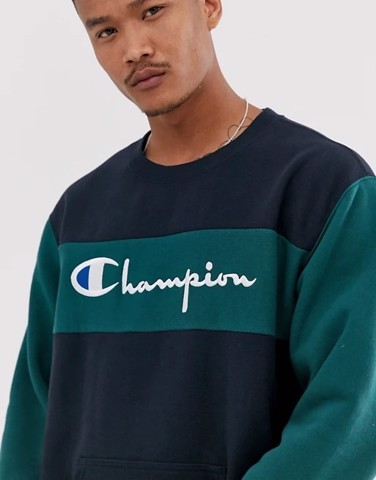 P100247 Champion Reverse Weave color block crewneck in navy/teal