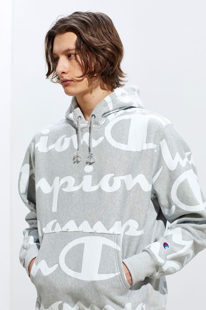 P100243 ÁO HOODIE CHAMPION LARGE SCRIPT ALLOVER PRINT