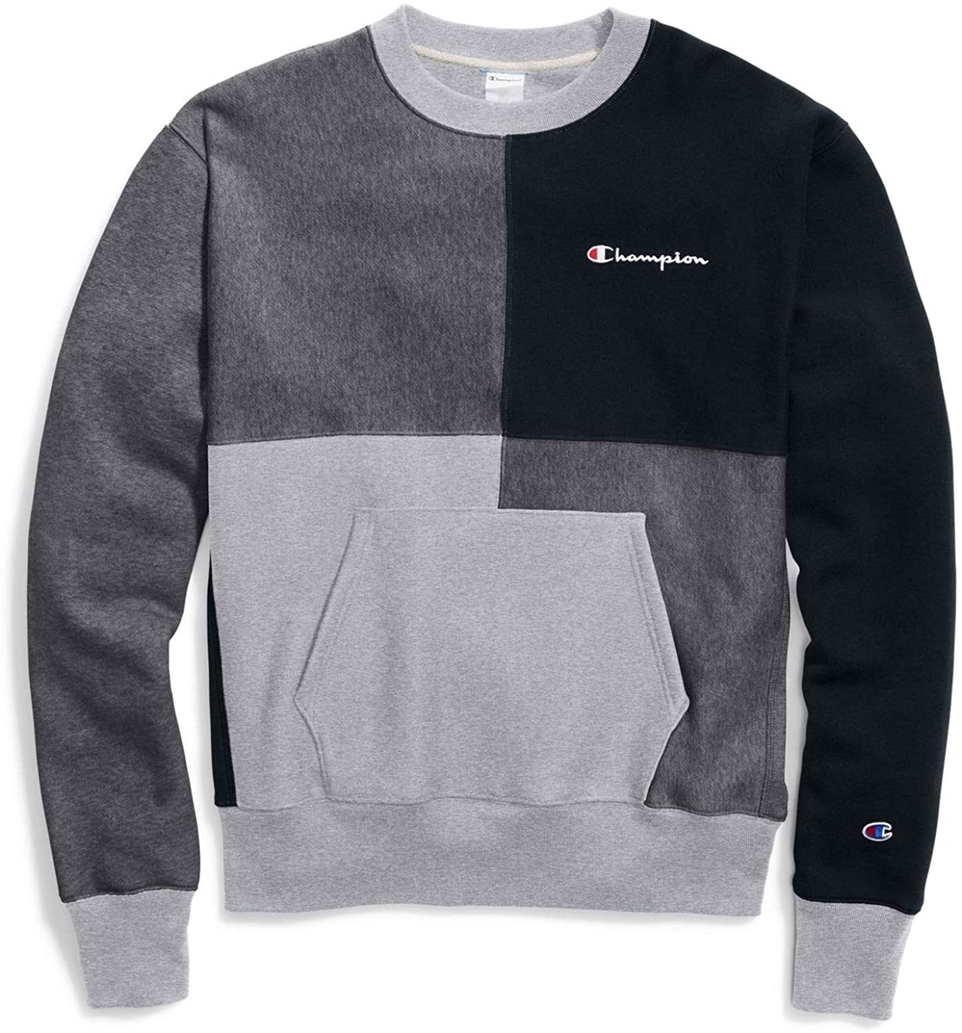 ÁO SWEATER CHAMPION REVERSE WEAVE COLOR BLOCK - GREY