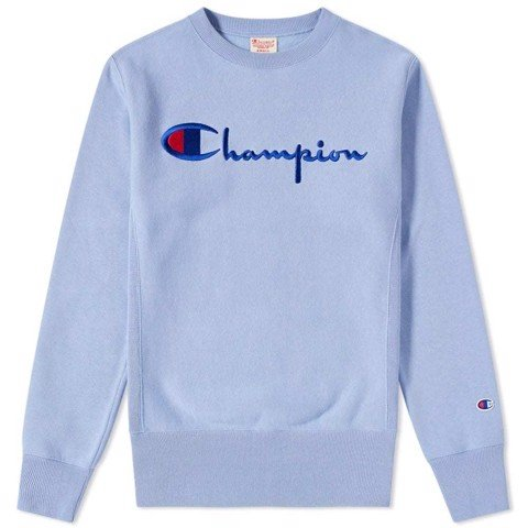 ÁO SWEATER CHAMPION REVERSE WEAVE SCRIPT LOGO SWISS BLUE