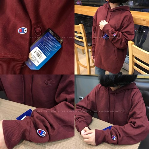 P100171 ÁO CHAMPION AUTHENTIC POWERBLEND PULLOVER HOODIE - MAROON