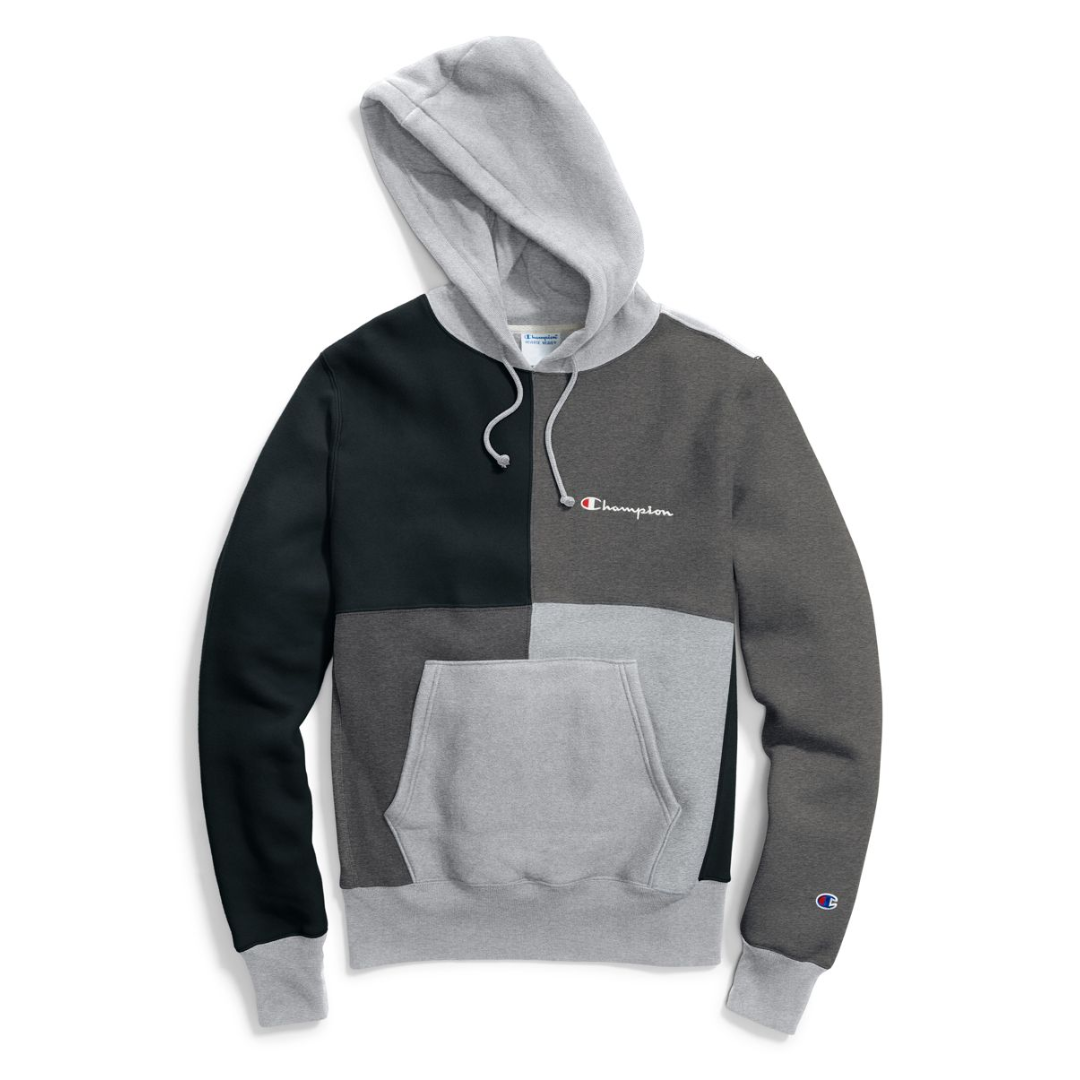 P100250 ÁO HOODIE CHAMPION REVERSE WEAVE COLOR BLOCK - GREY