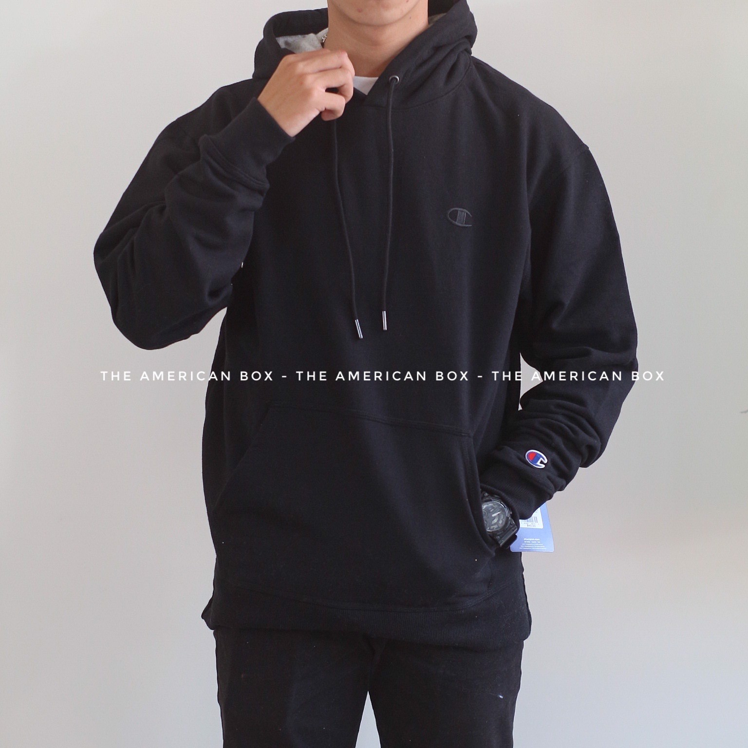P100171 ÁO CHAMPION AUTHENTIC POWERBLEND PULLOVER HOODIE - BLACK