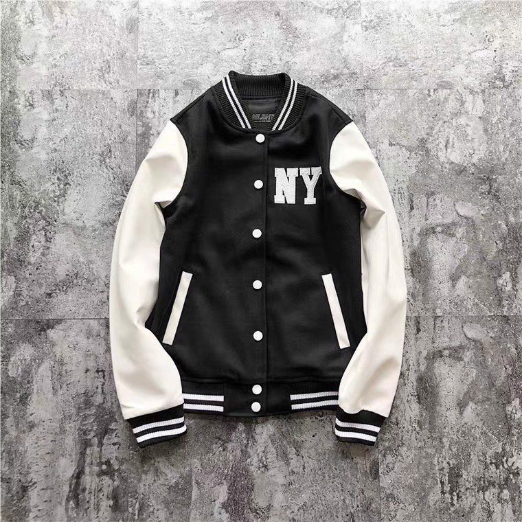 P100300 ÁO KHOÁC BASEBALL JACKET MLBNY CHINA - BLACK AND WHITE