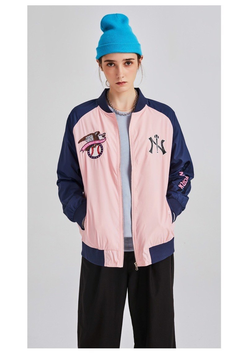 P100239 ÁO KHOÁC BASEBALL JACKET MLBNY CHINA SATIN NAVY/PINK