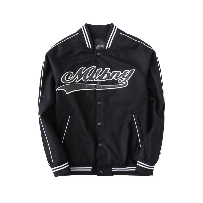 P100241 ÁO KHOÁC BASEBALL JACKET MLBNY CHINA - BLACK