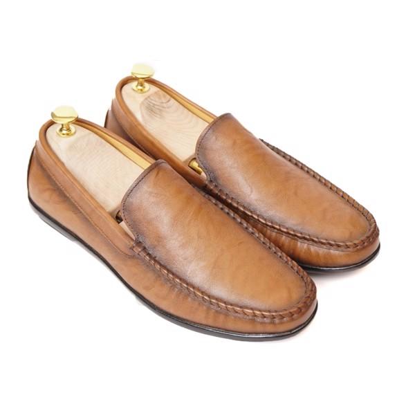 Giày lười da trơn Clark khâu đế- Nâu pha mới