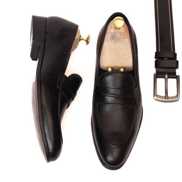Giày lười da công sở cao cấp - Đen 123-5