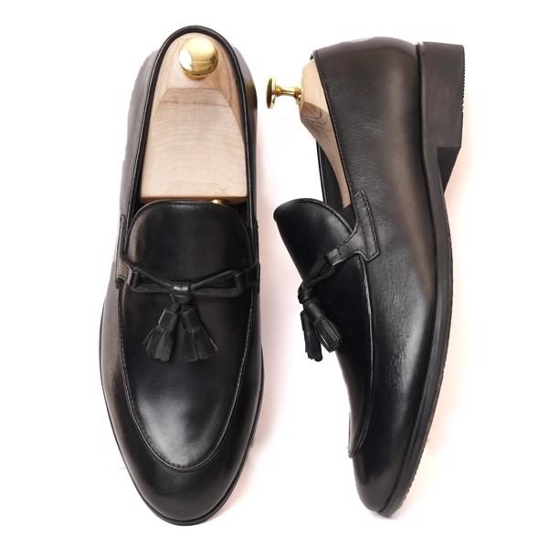 Giày lười da trơn công sở - Đen 555-7