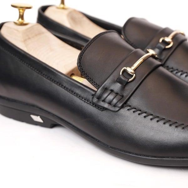 Giày lười da cao cấp họa tiết khóa - Đen 137-2
