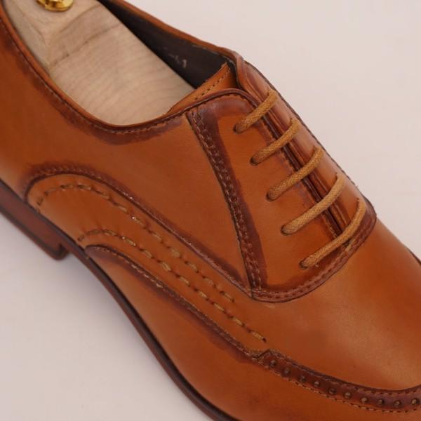 Giày da buộc dây công sở Nâu Vàng 1706-1
