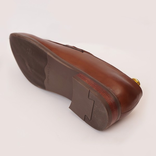 Giày lười da bò cao cấp họa tiết đơn giản Nâu 555-7