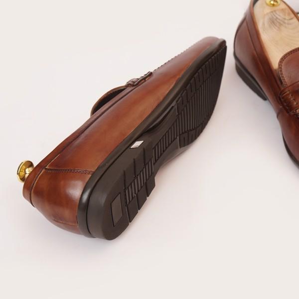 Giày lười da cao cấp họa tiết khóa Nâu 137-2