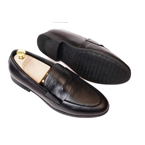 Giày lười da công sở có đai ngang- Đen 76812