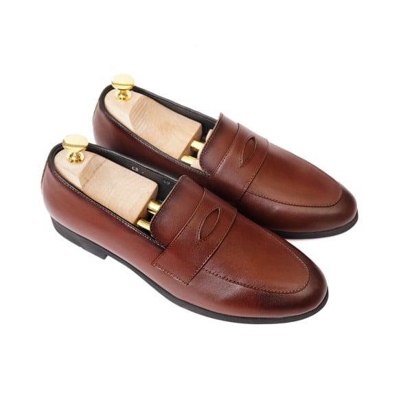 Giày lười da công sở có đai ngang- Nâu đất 76807