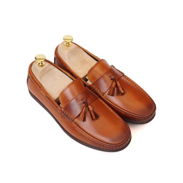Giày lười da cao cấp Nâu phun - 1018