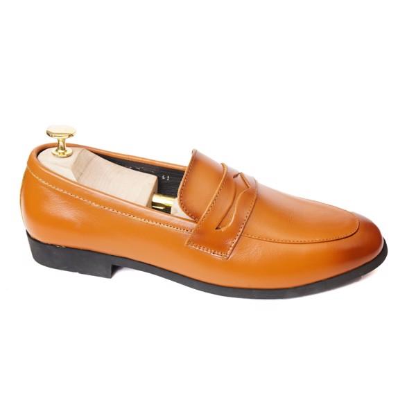 Giày lười da công sở có đai ngang- Nâu vàng 76799
