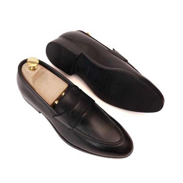 Giày lười da bò cao cấp Đen - VA05