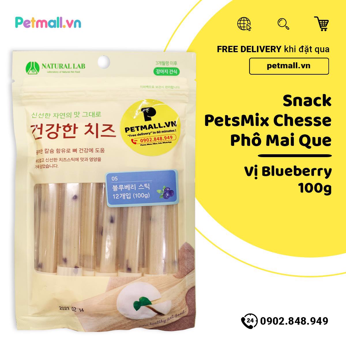 Snack PetsMix Cheese Phô Mai Que 100g - Vị Blueberry