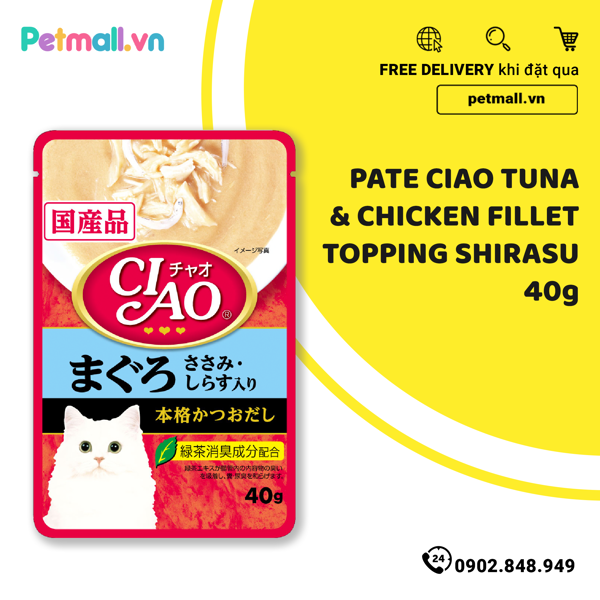 Pate mèo CIAO Tuna & Chicken Fillet Topping Shirasu 40g