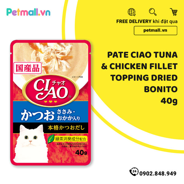 Pate mèo CIAO Tuna & Chicken Fillet Topping Dried Bonito 40g
