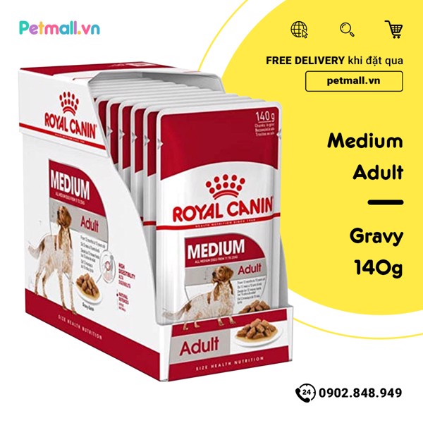 Pate chó Royal Canin Medium Adult - Gravy 1 hộp 10 gói