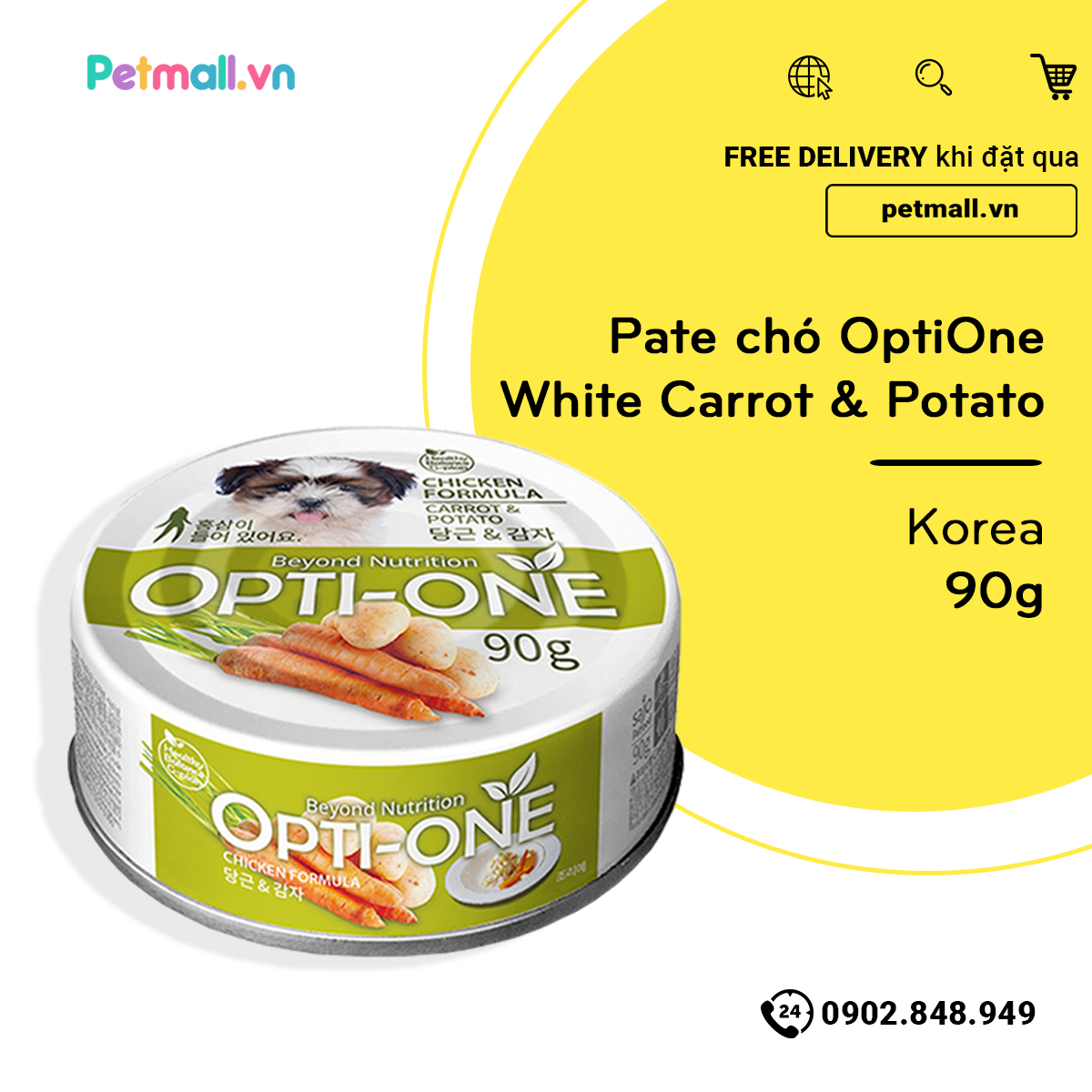 Pate chó OptiOne White Carrot & Potato 90g - Korea