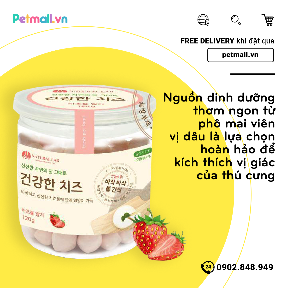Phô mai viên Petsmix Cheese Strawberry 120g