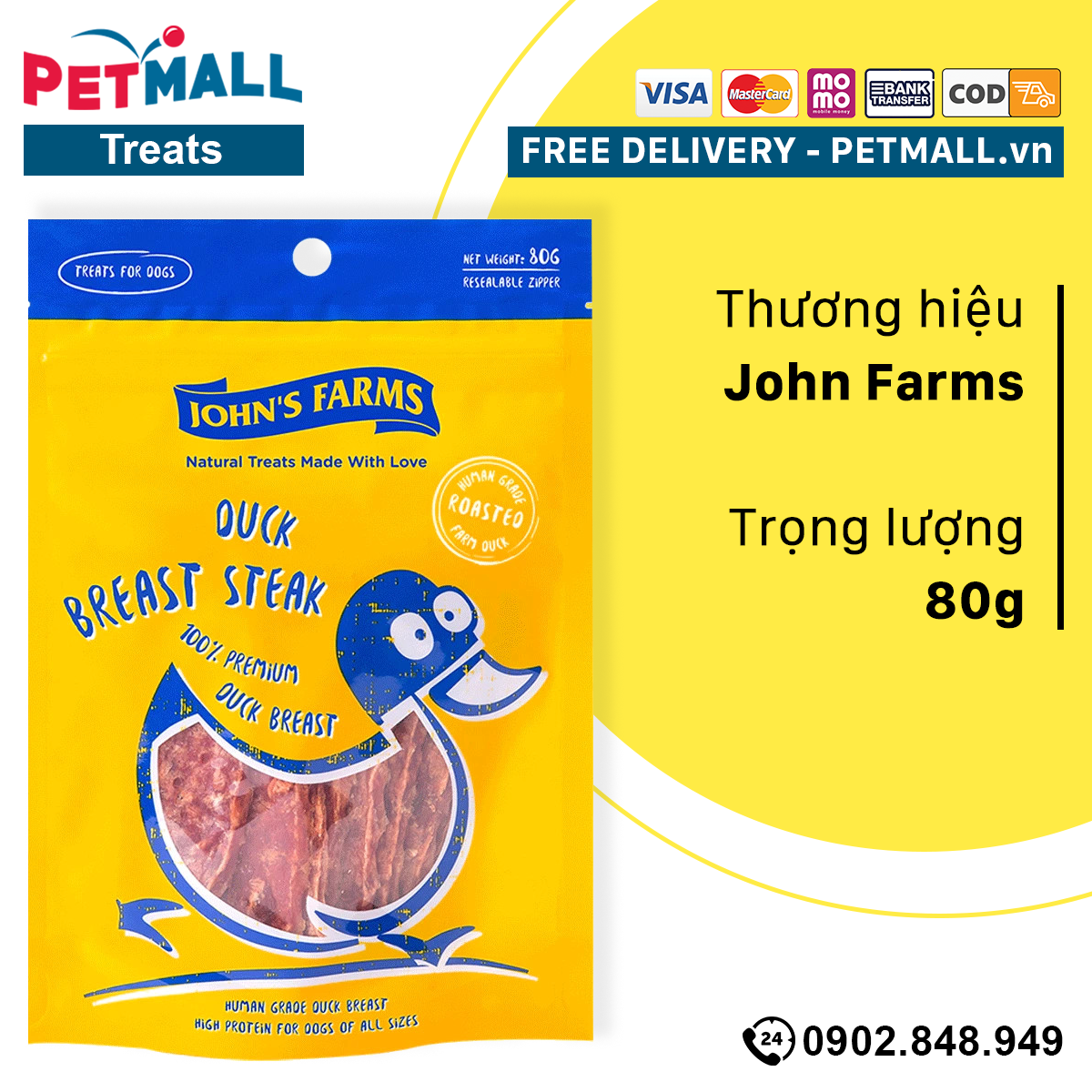Treats chó John Farms Tender Jerky Dog Treats Made with Real Duck - 80g - thịt vịt