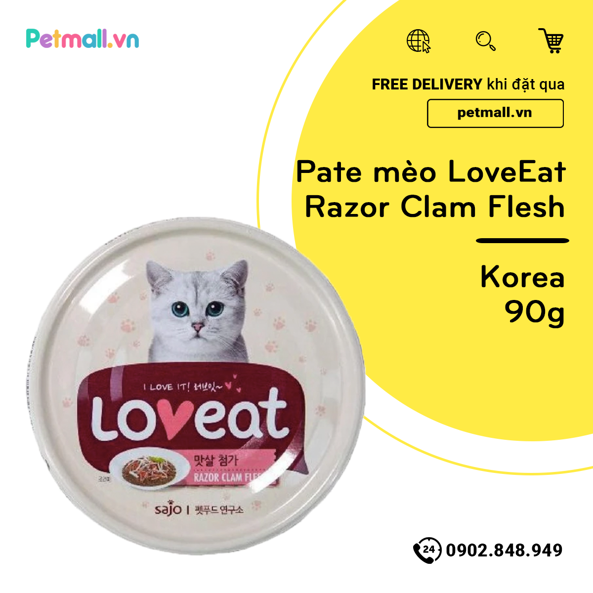 Pate mèo LoveEat Razor Clam Flesh 90g - Korea