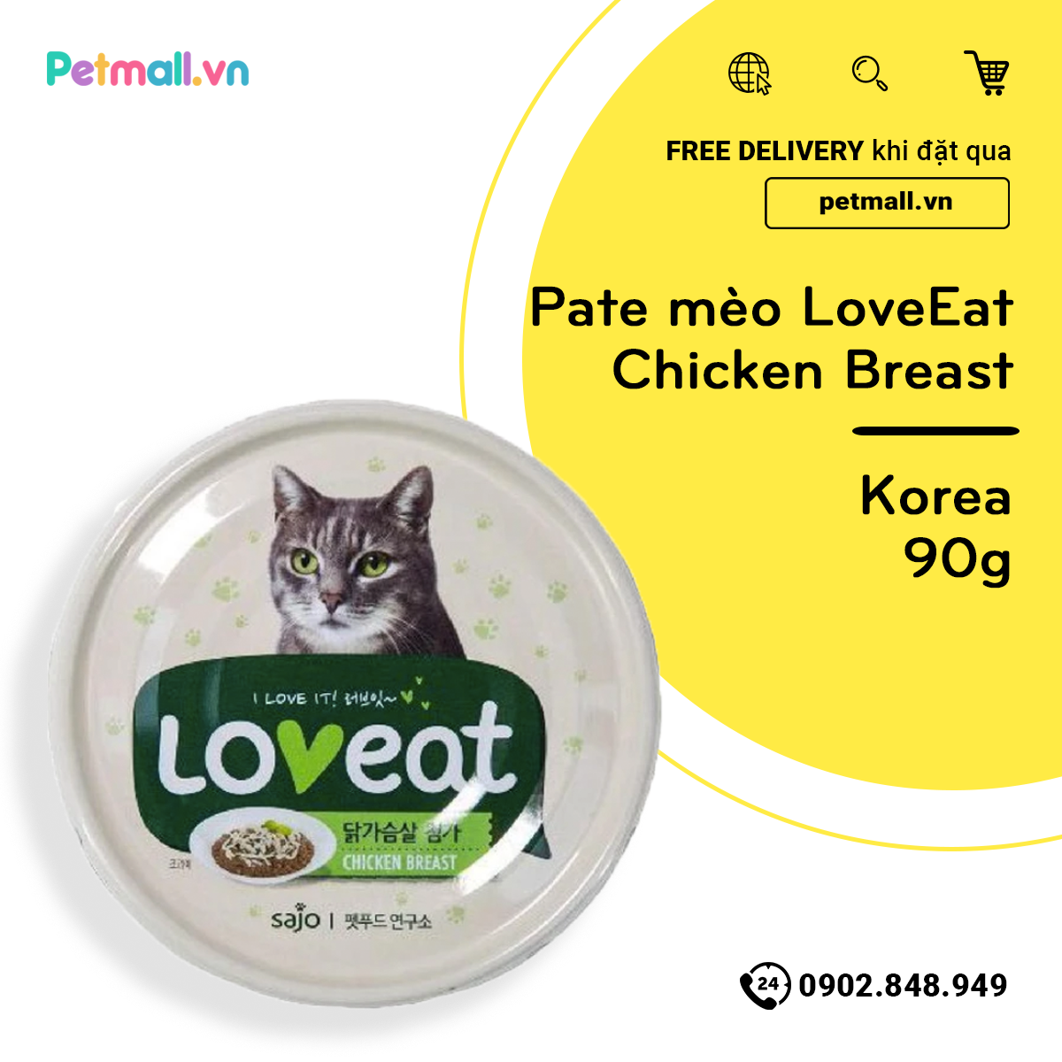 Pate mèo LoveEat Chicken Breast 90g - Korea