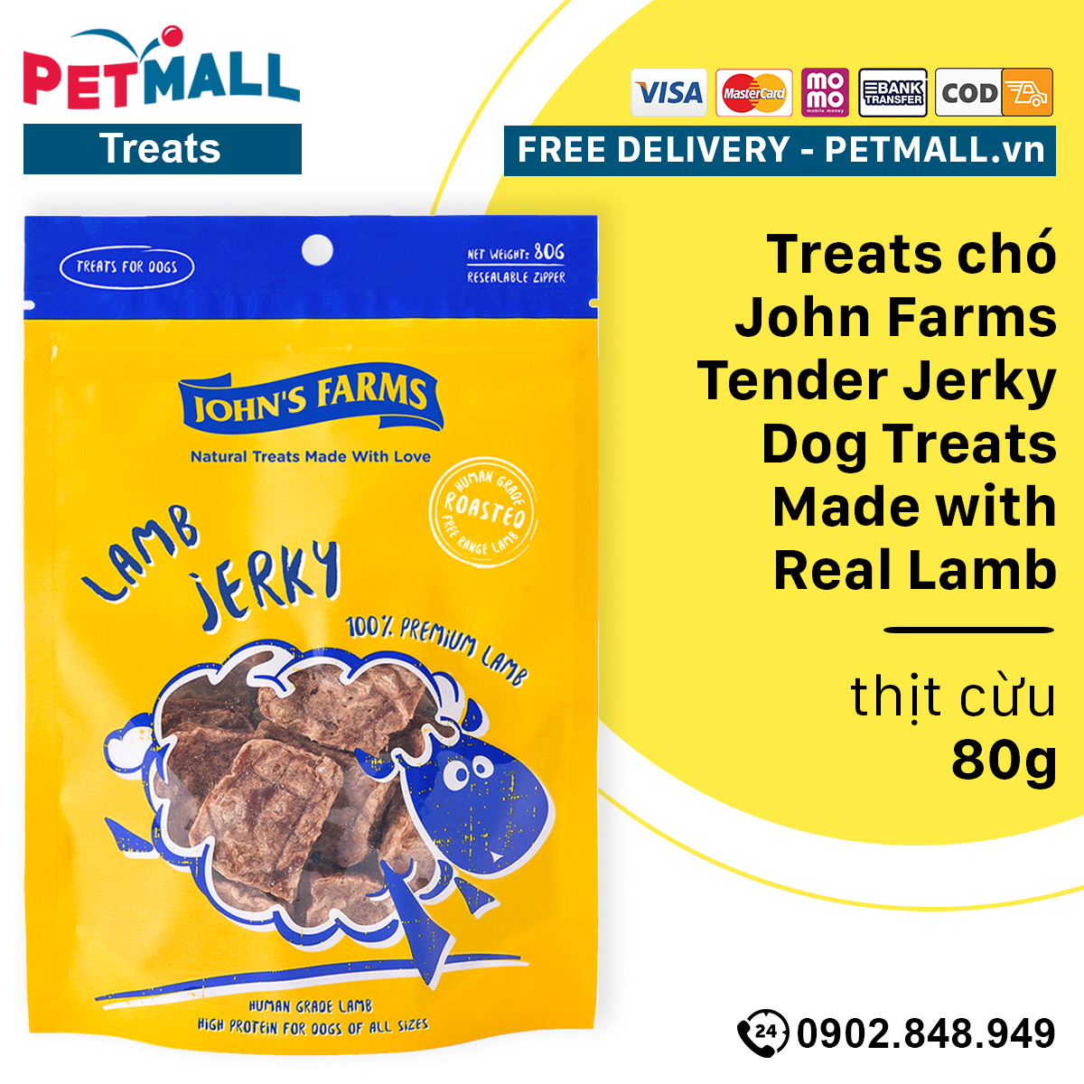 Treats chó John Farms Tender Jerky Dog Treats Made with Real Lamb - 80g - thịt cừu