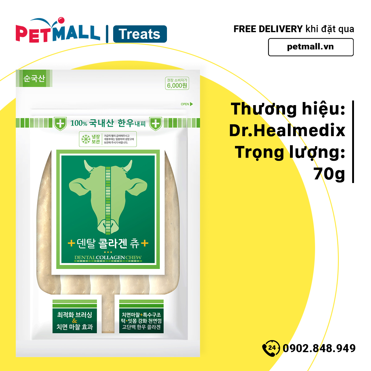 Xương gặm Dr.Healmedix Dental Collagen Chew Bone 70g