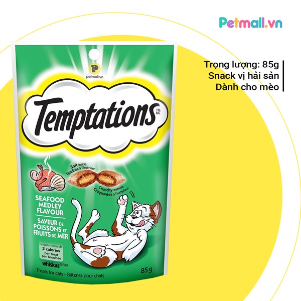 Snack mèo Temptations Seafood Medley 85g
