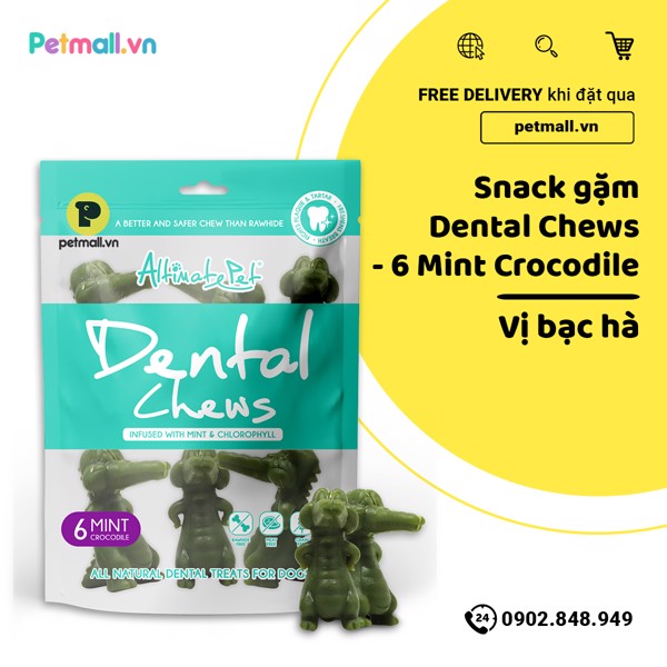 Snack gặm Dental Chews - 6 Mint Crocodile