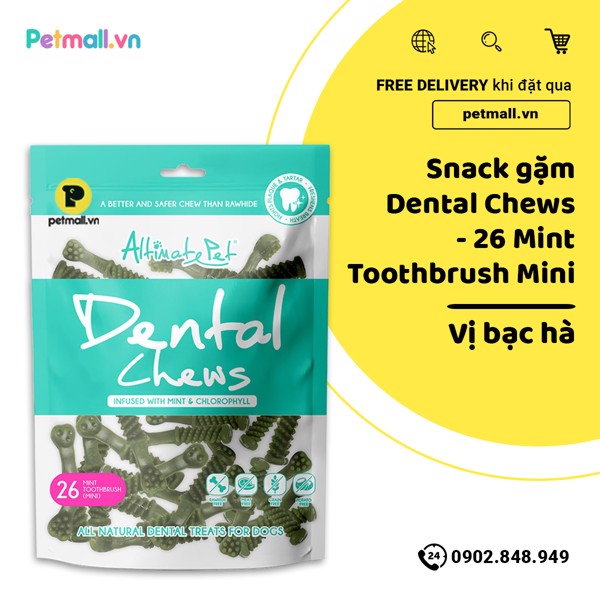 Snack gặm Dental Chews - 26 Mint Toothbrush Mini