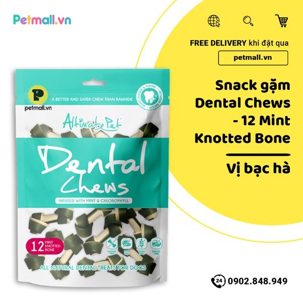 Snack gặm Dental Chews - 12 Mint Knotted Bone