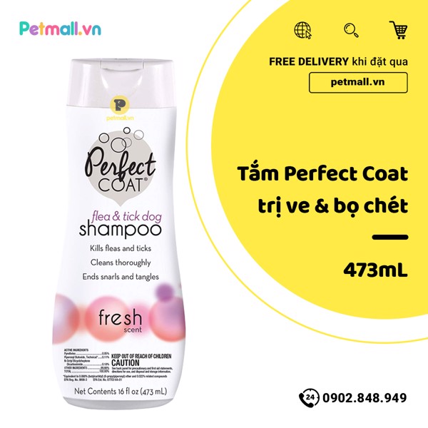 Sữa tắm Perfect Coat trị ve bọ chét 473ml - flea tick