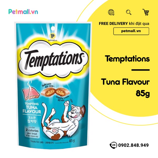 Snack mèo Temptations Tempting Tuna 85g