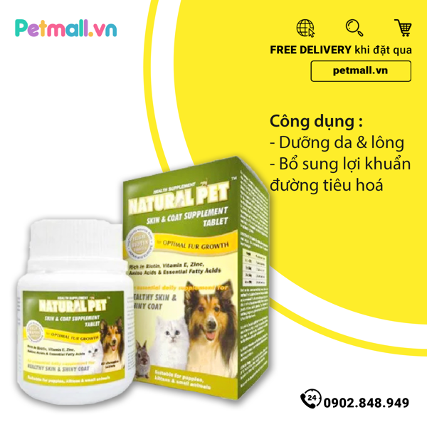 Natural Pet SKIN & COAT Supplement Tablet dưỡng da & lông (60 viên)