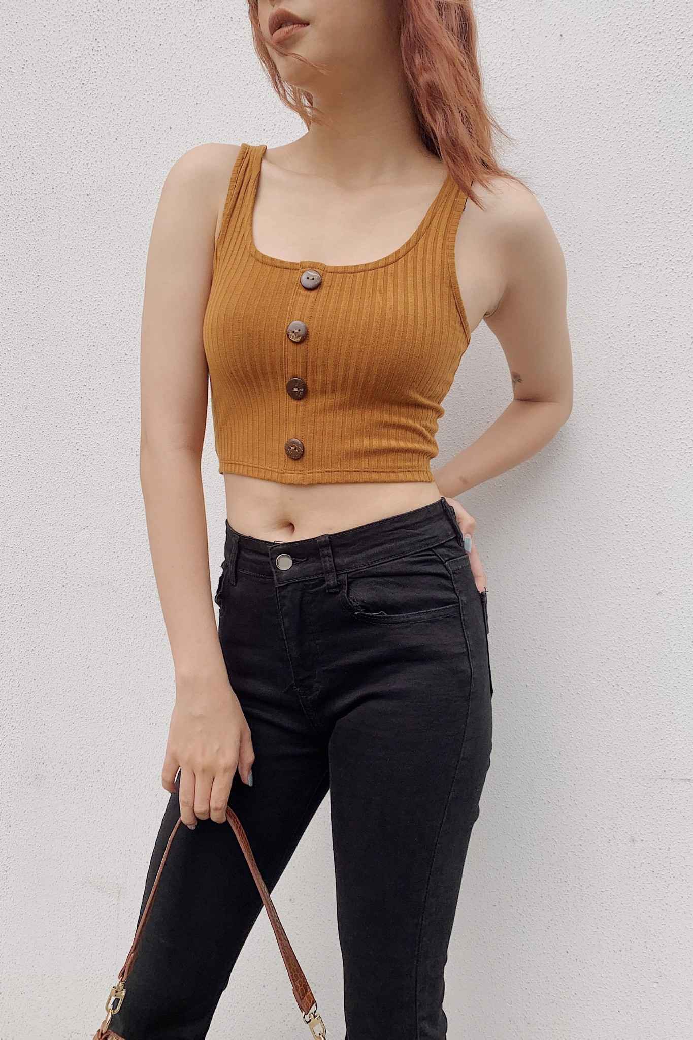 Buttoned Straight Tank Top (Orange)