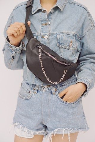 Faux Leather Belt Bag (Black)