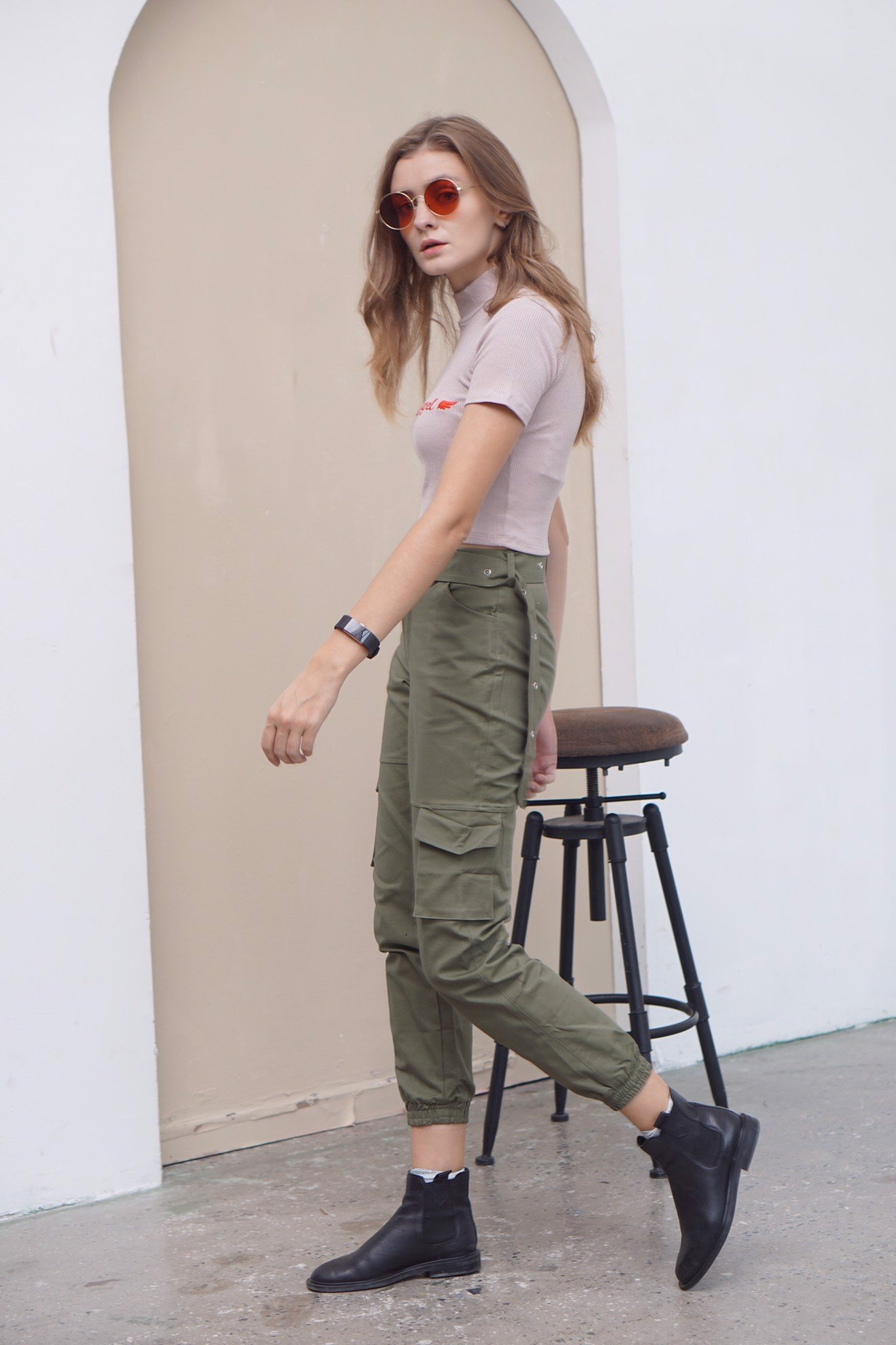 Moss-green Kaki Pants